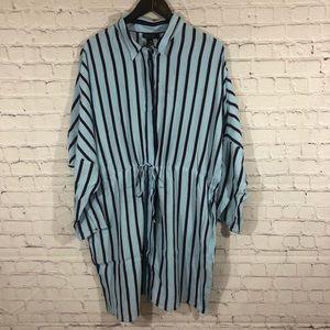 Topshop Stripe Drawstring Shirt Dress